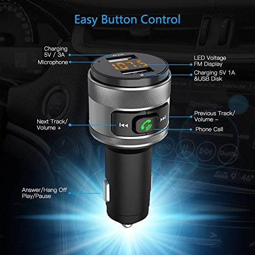 transmetteur fm bluetooth adaptateur vorstik qc3 0 usb chargeur de voiture sans fil mains libre. Black Bedroom Furniture Sets. Home Design Ideas